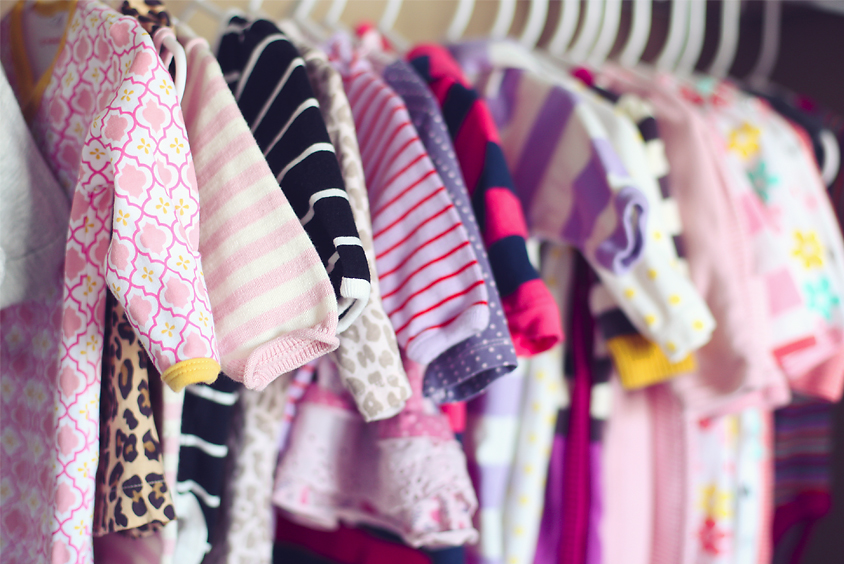 BABY CLOTHES IN CLOSET LR